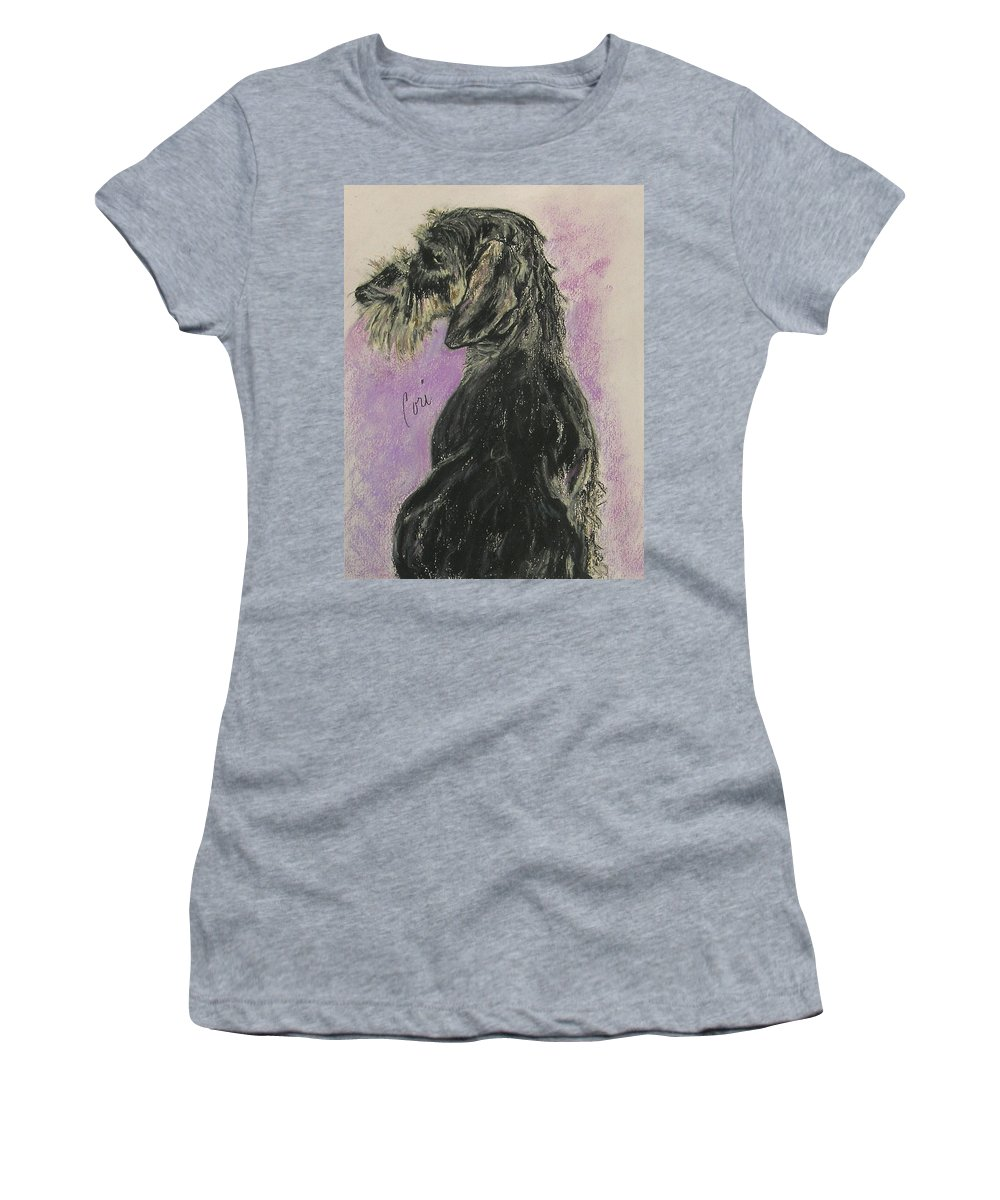 Dachshund Women's T-Shirt (Athletic Fit) featuring the drawing Hot Wired by Cori Solomon