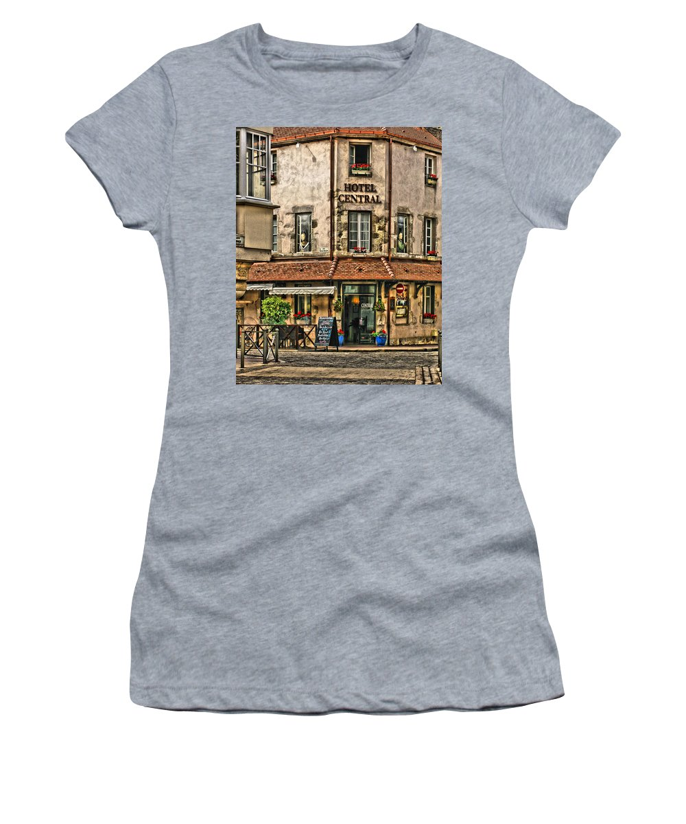 French Village Women's T-Shirt featuring the digital art Hotel Central In Beaune France by Greg Matchick