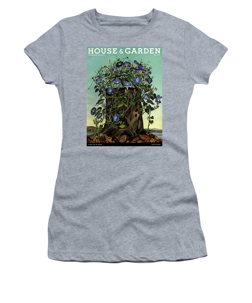 House And Garden Women's T-Shirt featuring the photograph House And Garden Cover Featuring Flowers Growing by Audrey Buller