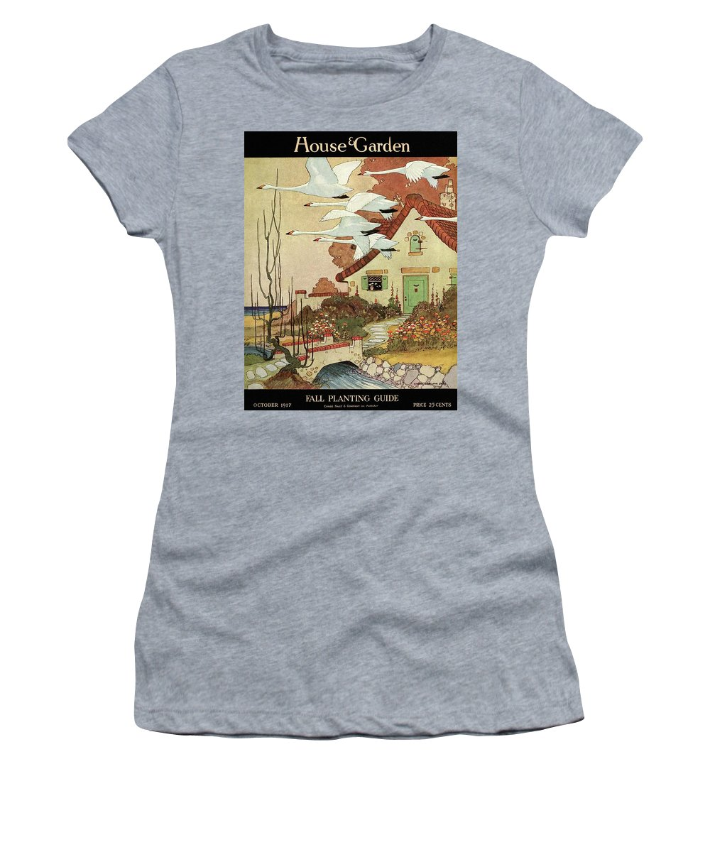 House And Garden Women's T-Shirt featuring the photograph House And Garden Fall Planting Guide by Charles Livingston Bull