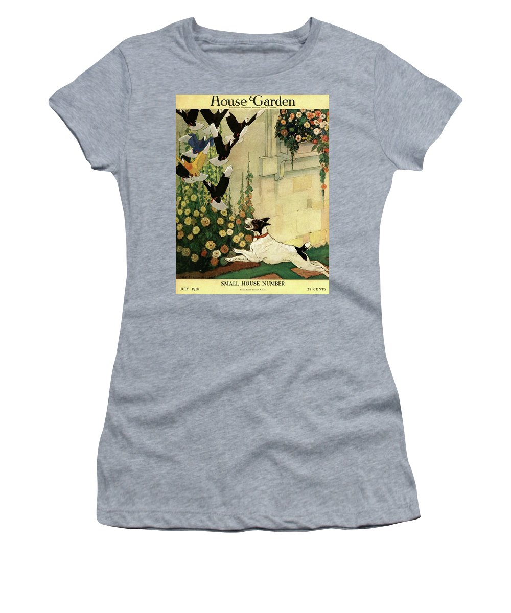 House And Garden Women's T-Shirt featuring the photograph House And Garden Small House Number Cover by Charles Livingston Bull