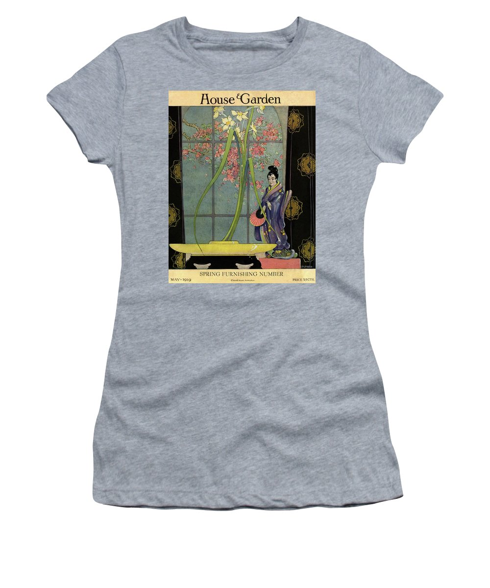 House And Garden Women's T-Shirt featuring the photograph House And Garden Spring Furnishing Number Cover by L. V. Carroll
