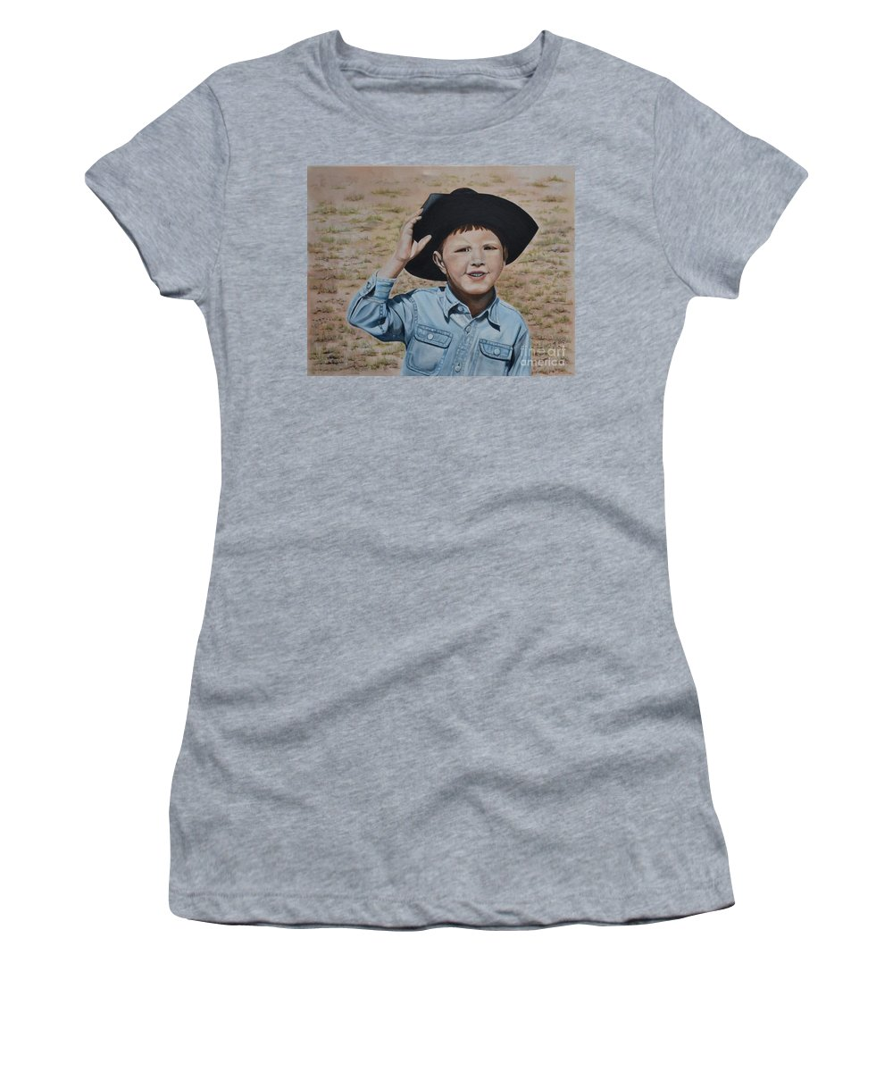 Usa Women's T-Shirt (Athletic Fit) featuring the painting Howdy Ma'am by Mary Rogers