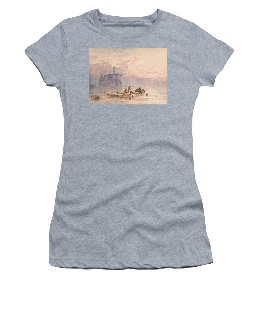 Hulk Women's T-Shirt featuring the painting Hulks At Anchor by William Cook of Plymouth