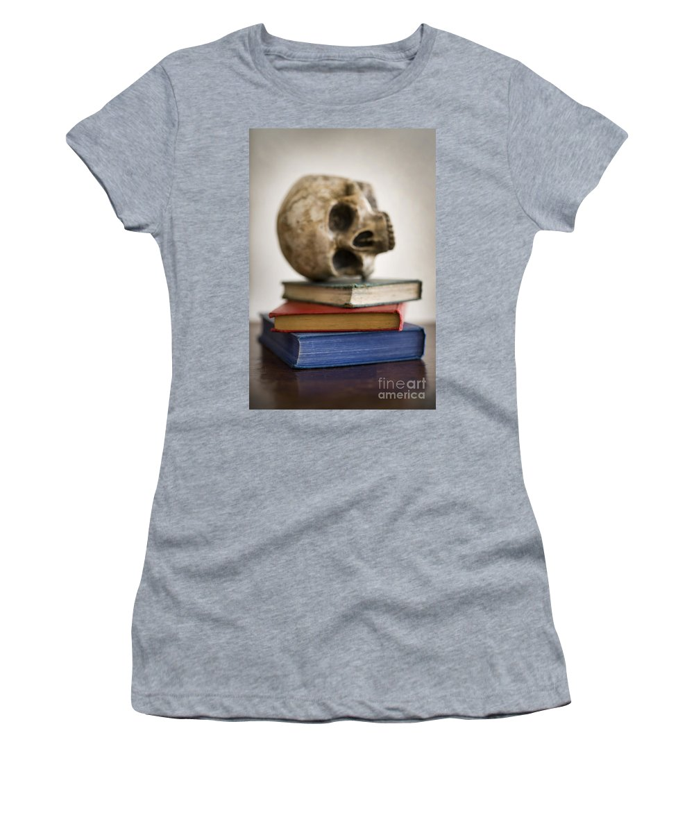 Skull Women's T-Shirt featuring the photograph Human Skull And Books by Lee Avison