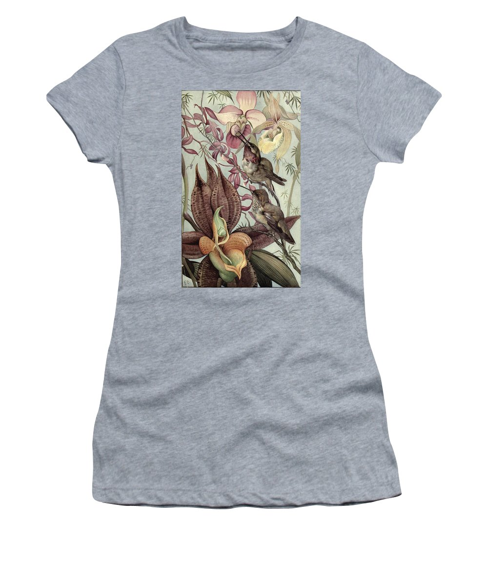 Hummingbirds Women's T-Shirt (Athletic Fit) featuring the painting Hummingbirds And Orchids by Philip Ralley