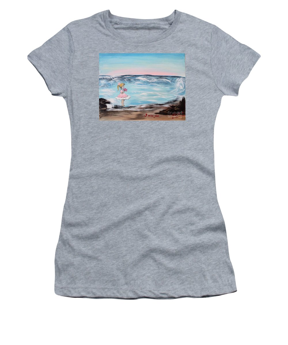 Little Girl Women's T-Shirt featuring the painting I Miss You by Linda Lin