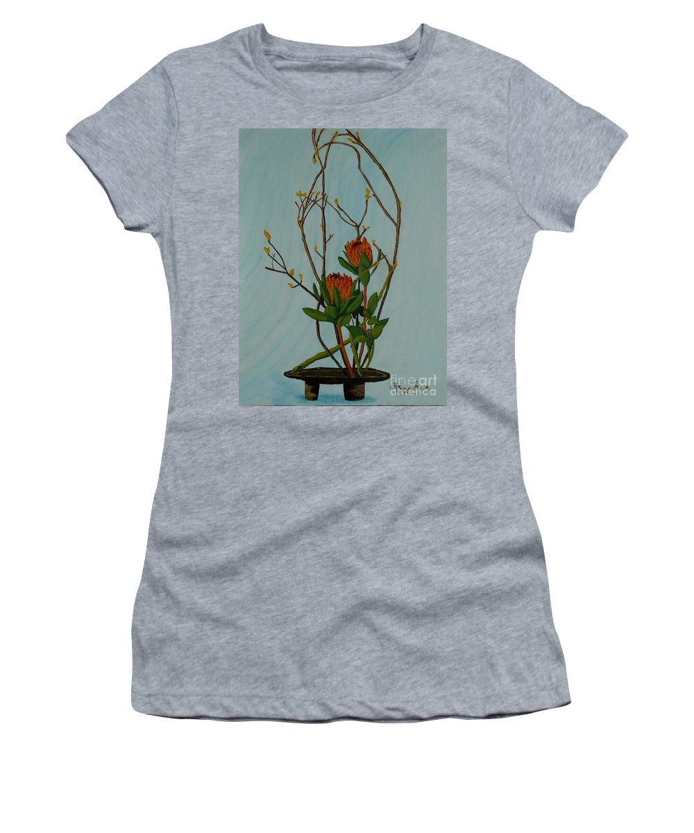 Ikebana Women's T-Shirt featuring the painting Ikebana Dancers by Anthony Dunphy