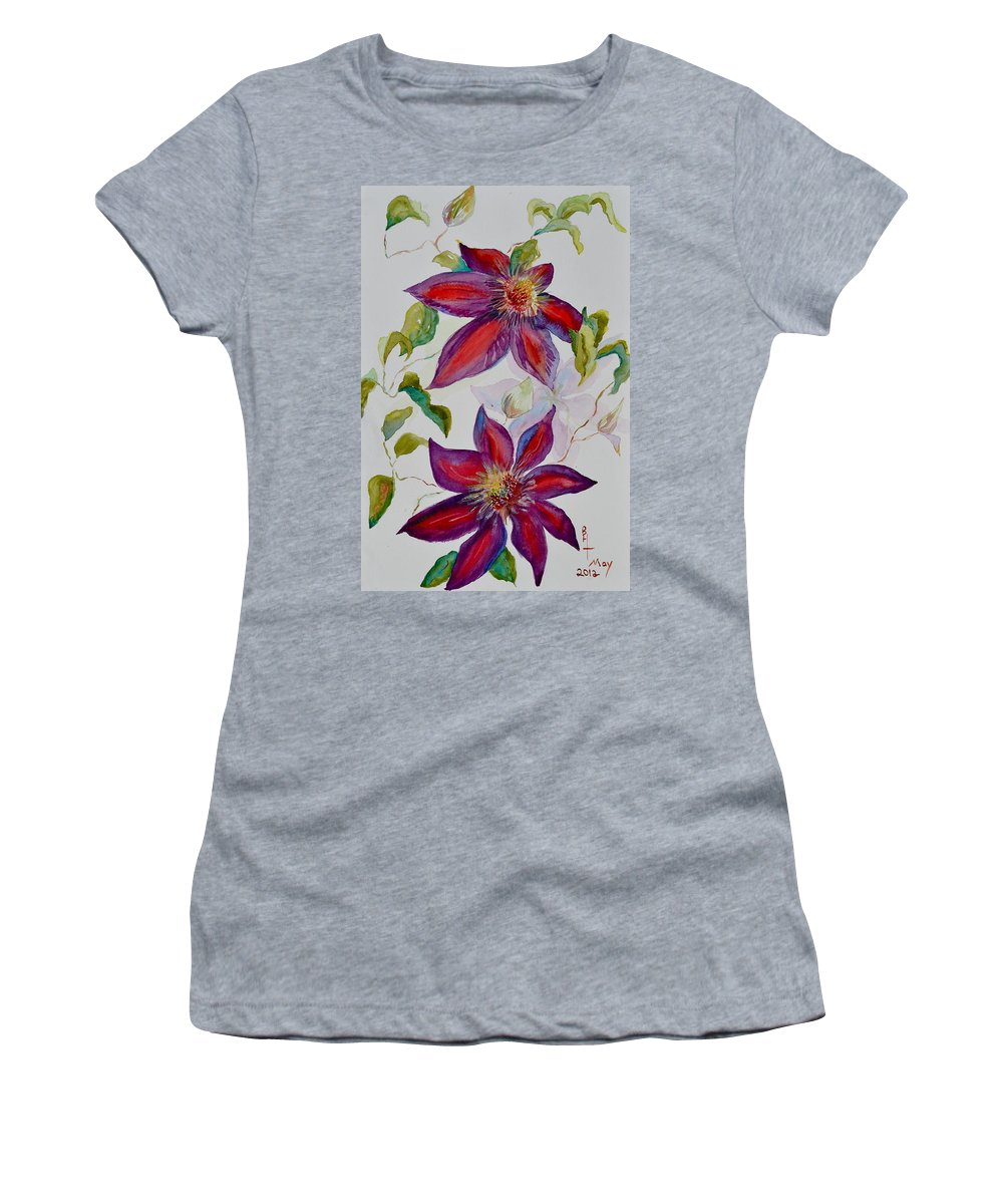 Clematis Women's T-Shirt (Athletic Fit) featuring the painting In Grandpa's Garden by Beverley Harper Tinsley