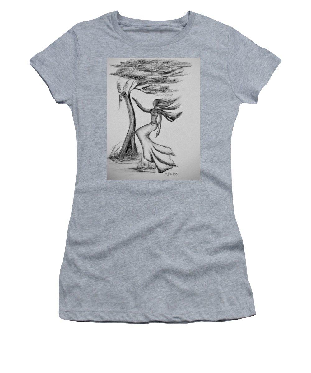 In The Wind She Dances Women's T-Shirt featuring the drawing In The Wind She Dances by Maria Urso