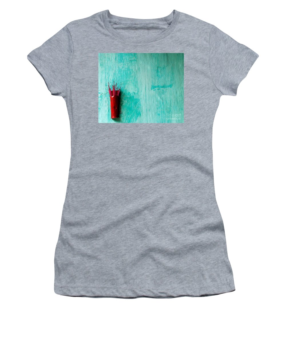 Red Women's T-Shirt (Athletic Fit) featuring the photograph Incense 05 by Rick Piper Photography