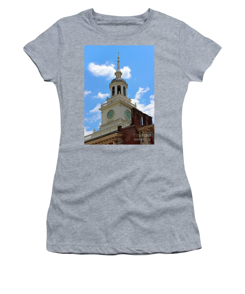 Independence Hall Women's T-Shirt featuring the photograph Independence Hall In Philadelphia by Karen Adams