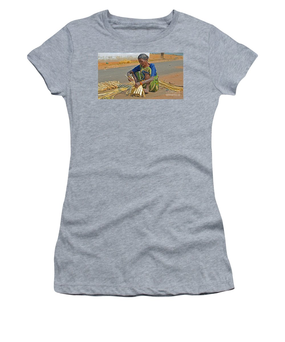 Indian Women's T-Shirt featuring the photograph Indian Aged Woman Working by Image World