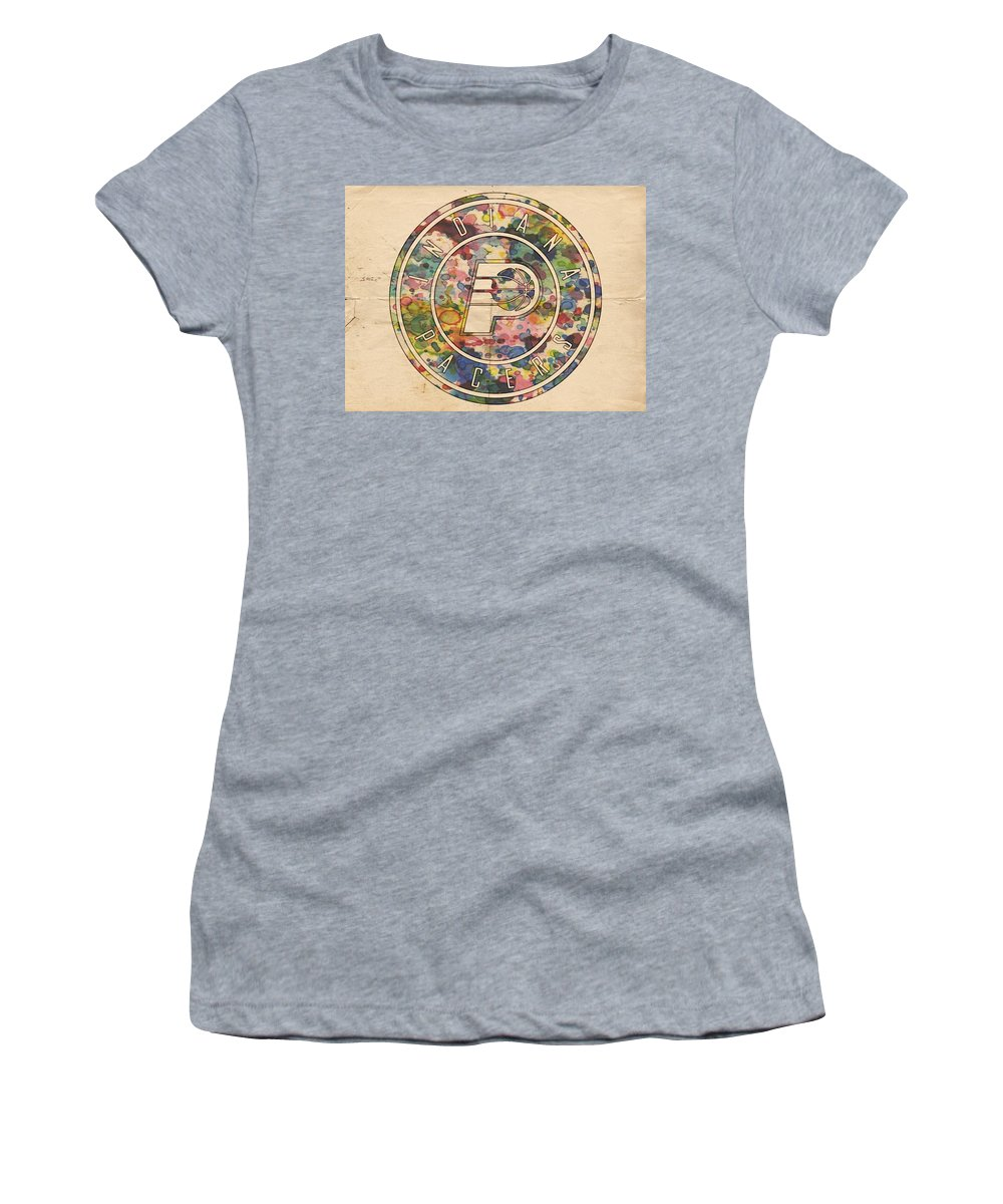 Indiana Pacers Women's T-Shirt featuring the painting Indiana Pacers Logo Vintage by Florian Rodarte
