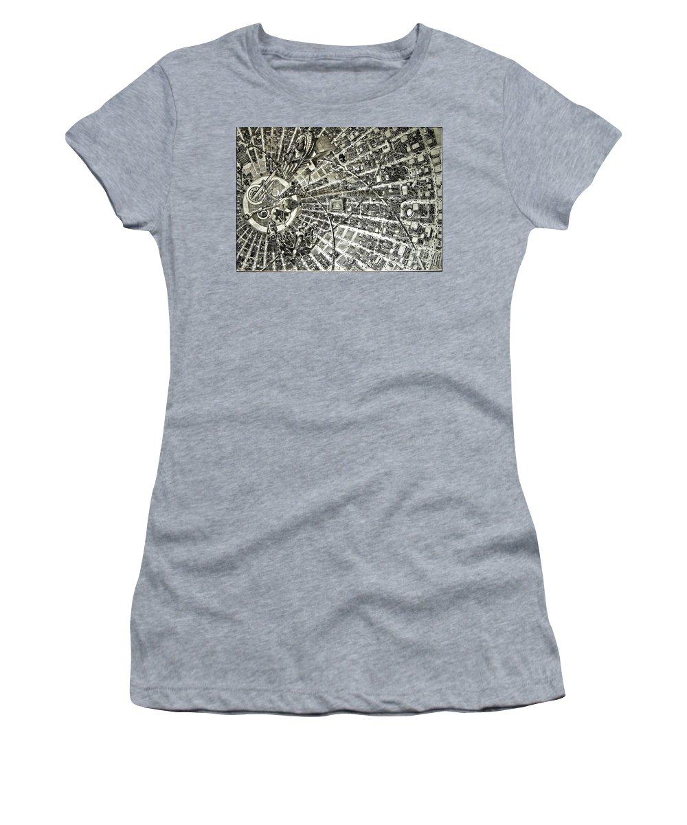 Cityscape Women's T-Shirt featuring the drawing Inside Orbital City by Murphy Elliott