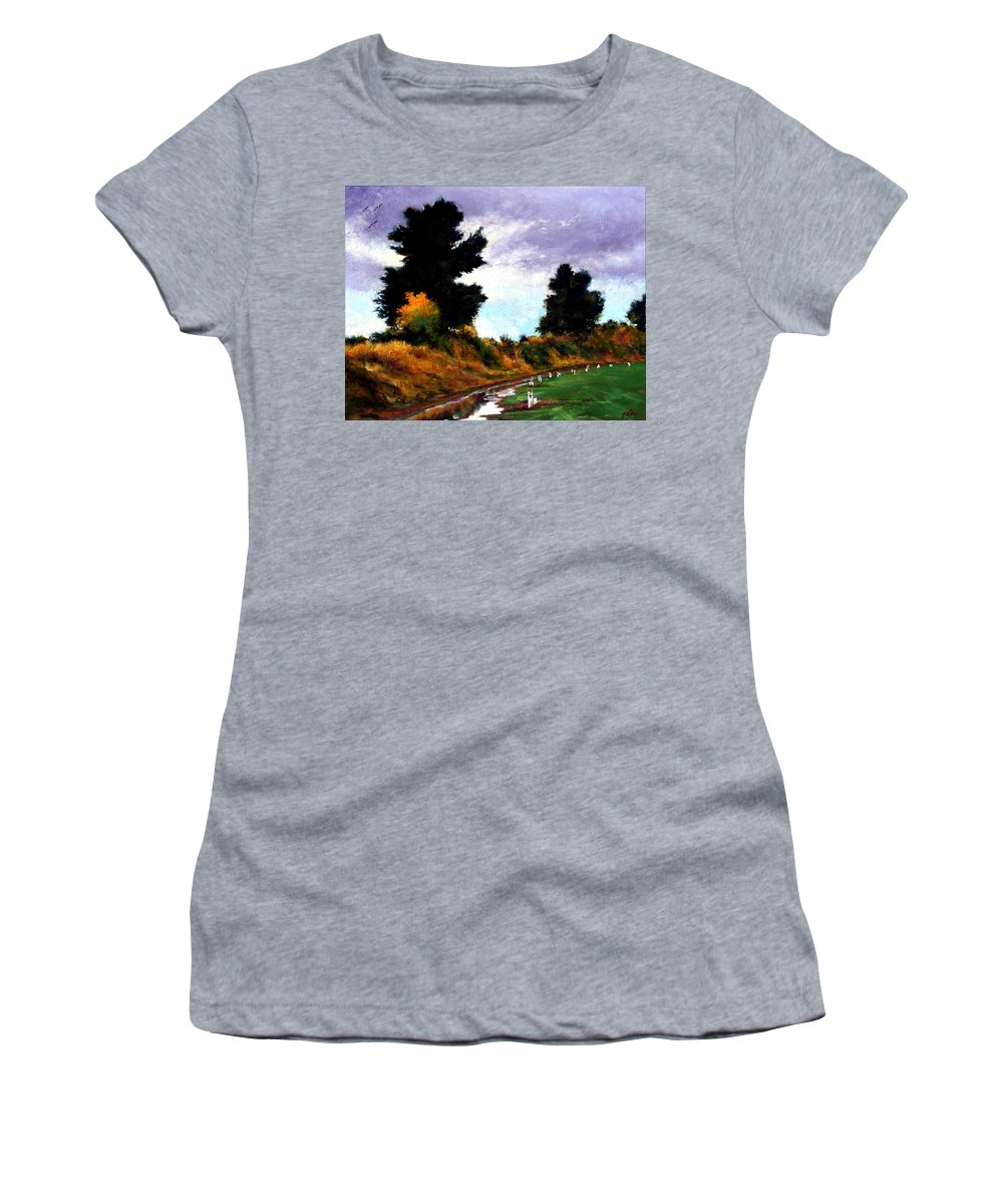 Landscape Women's T-Shirt (Athletic Fit) featuring the painting Inside The Dike by Jim Gola