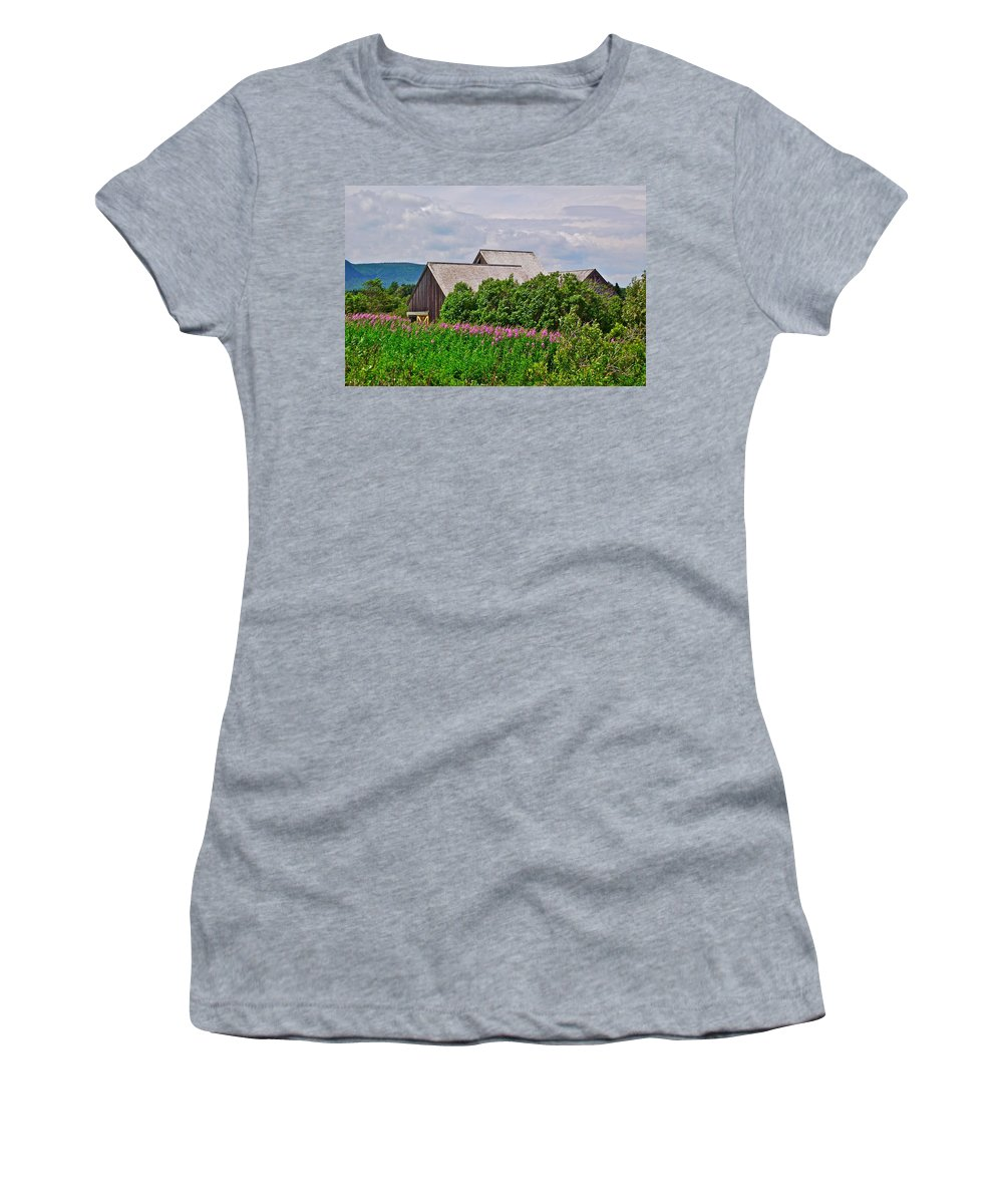 Interpretive Center In Forillon Np Women's T-Shirt (Athletic Fit) featuring the photograph Interpretive Center In Forillon Np-qc by Ruth Hager