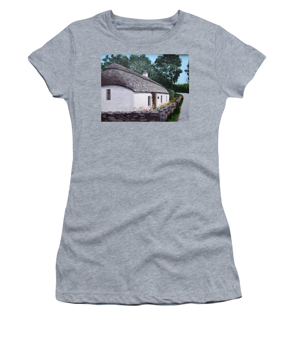 Irish Thatched Cottage Women's T-Shirt featuring the painting Irish Thatched Cottage by Tony Gunning