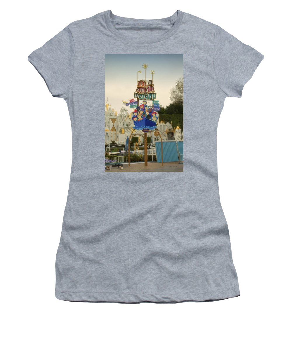 Disney Women's T-Shirt (Athletic Fit) featuring the photograph Its A Small World Fantasyland Signage Disneyland by Thomas Woolworth