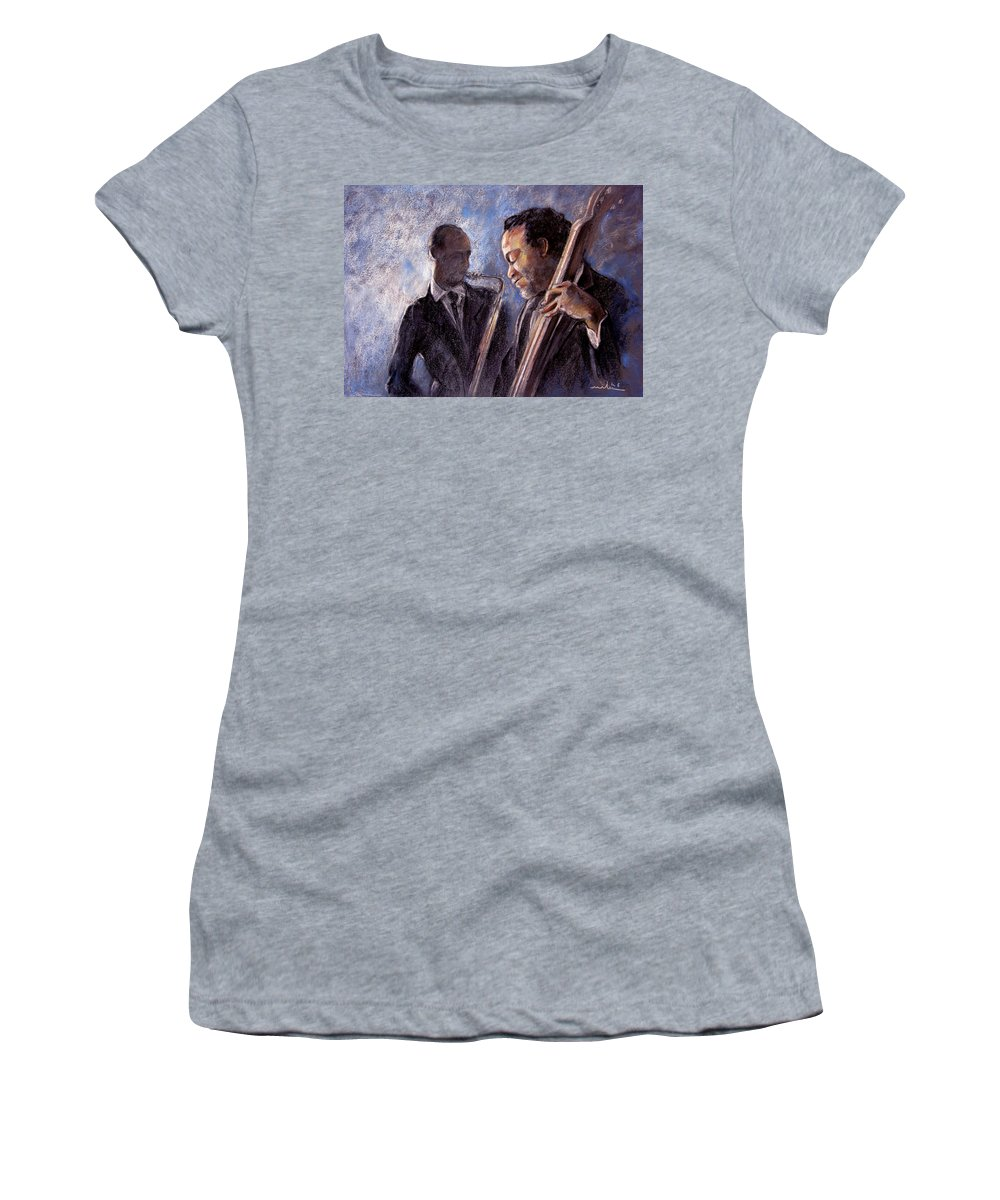 Jazz Women's T-Shirt featuring the painting Jazz 02 by Miki De Goodaboom