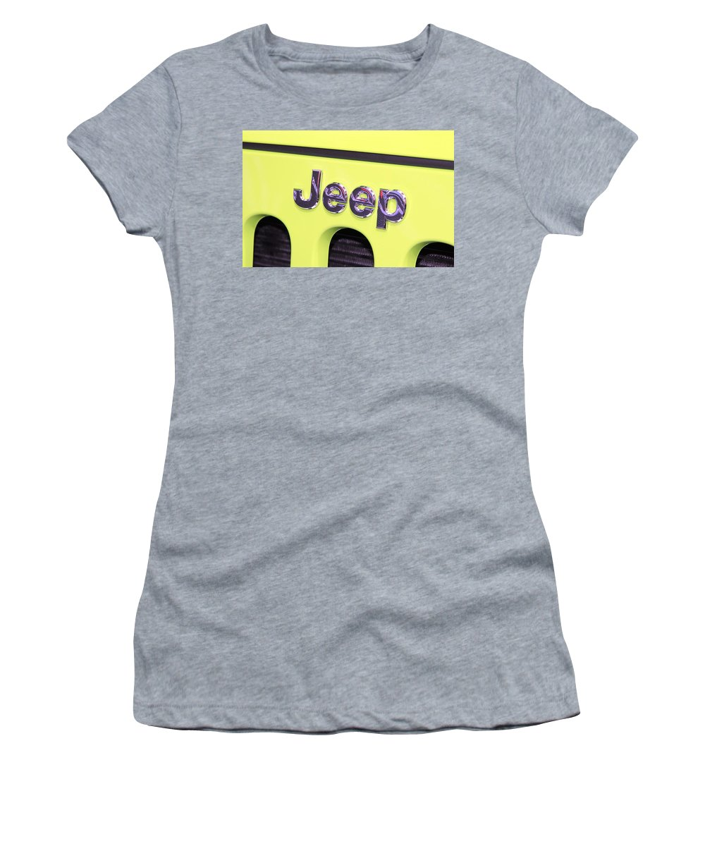 Jeep Women's T-Shirt featuring the photograph Jeep Logo by Valentino Visentini