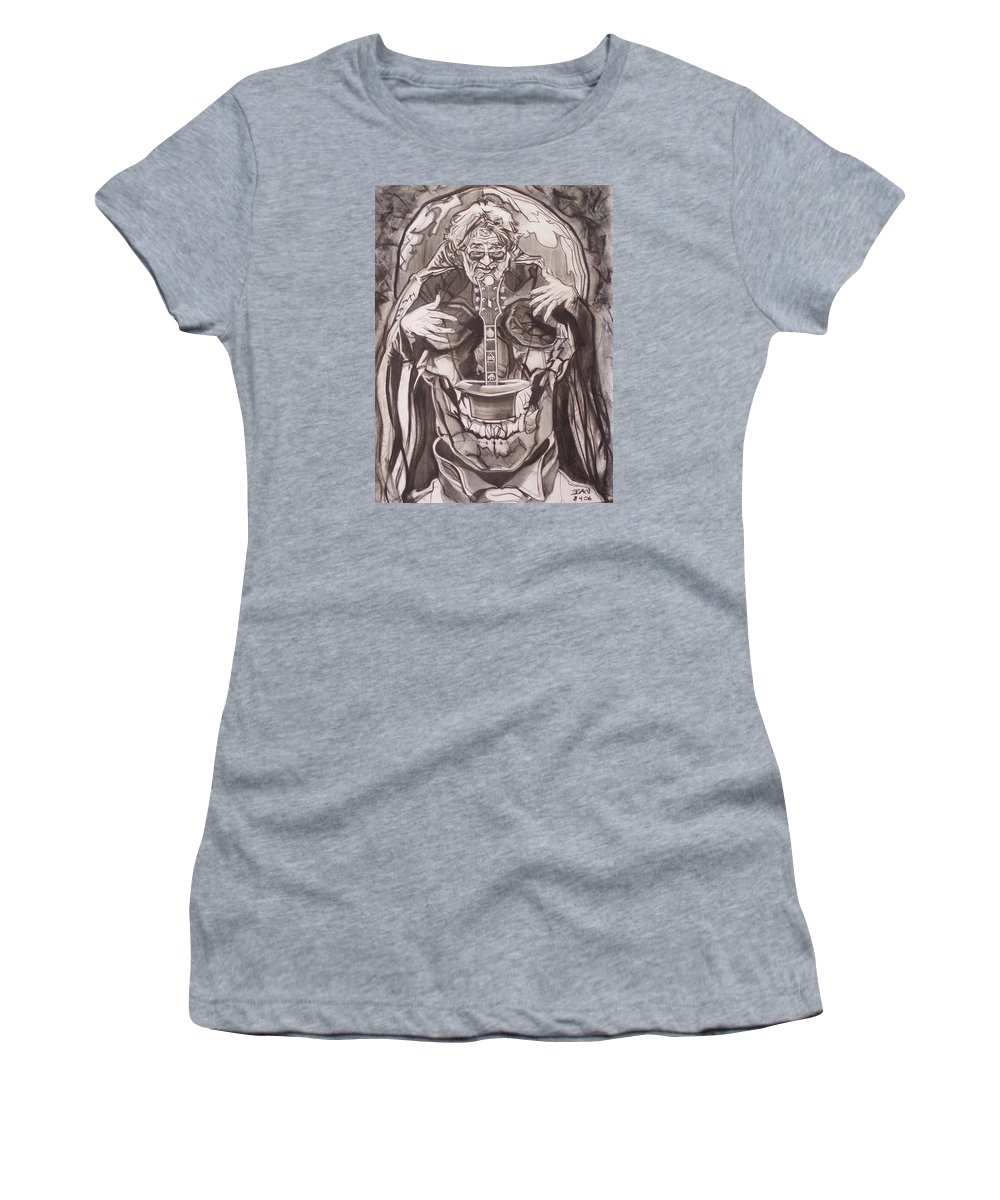 Charcoal Women's T-Shirt featuring the drawing Jerry Garcia . . Magic Is What We Do - Music Is How We Do It by Sean Connolly