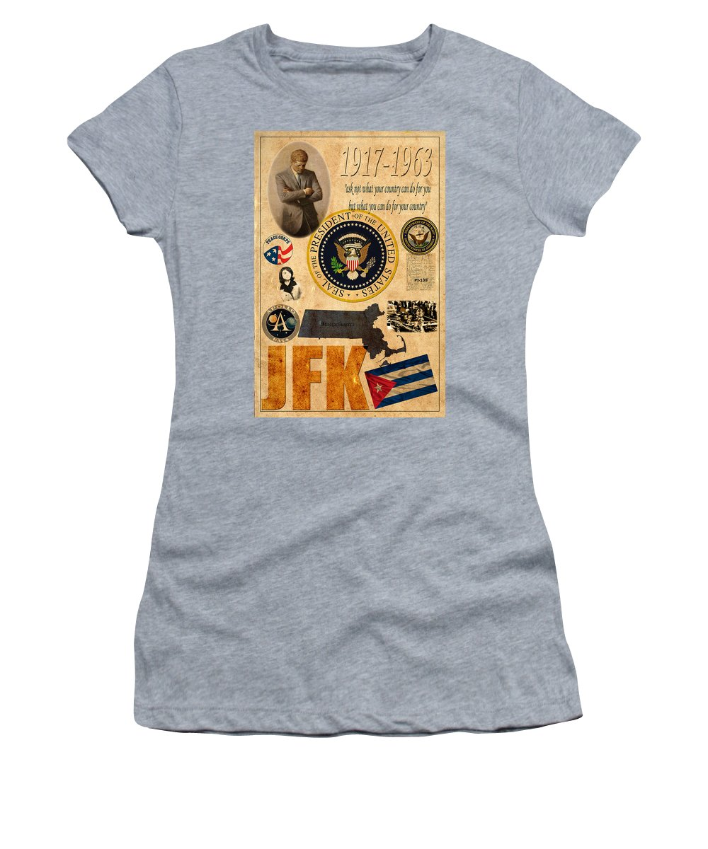 Jfk Women's T-Shirt featuring the photograph JFK by Andrew Fare