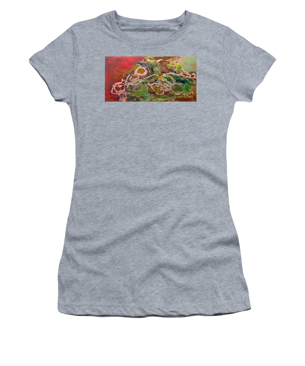 Landscape Women's T-Shirt (Athletic Fit) featuring the painting Journey Forth by Allan P Friedlander