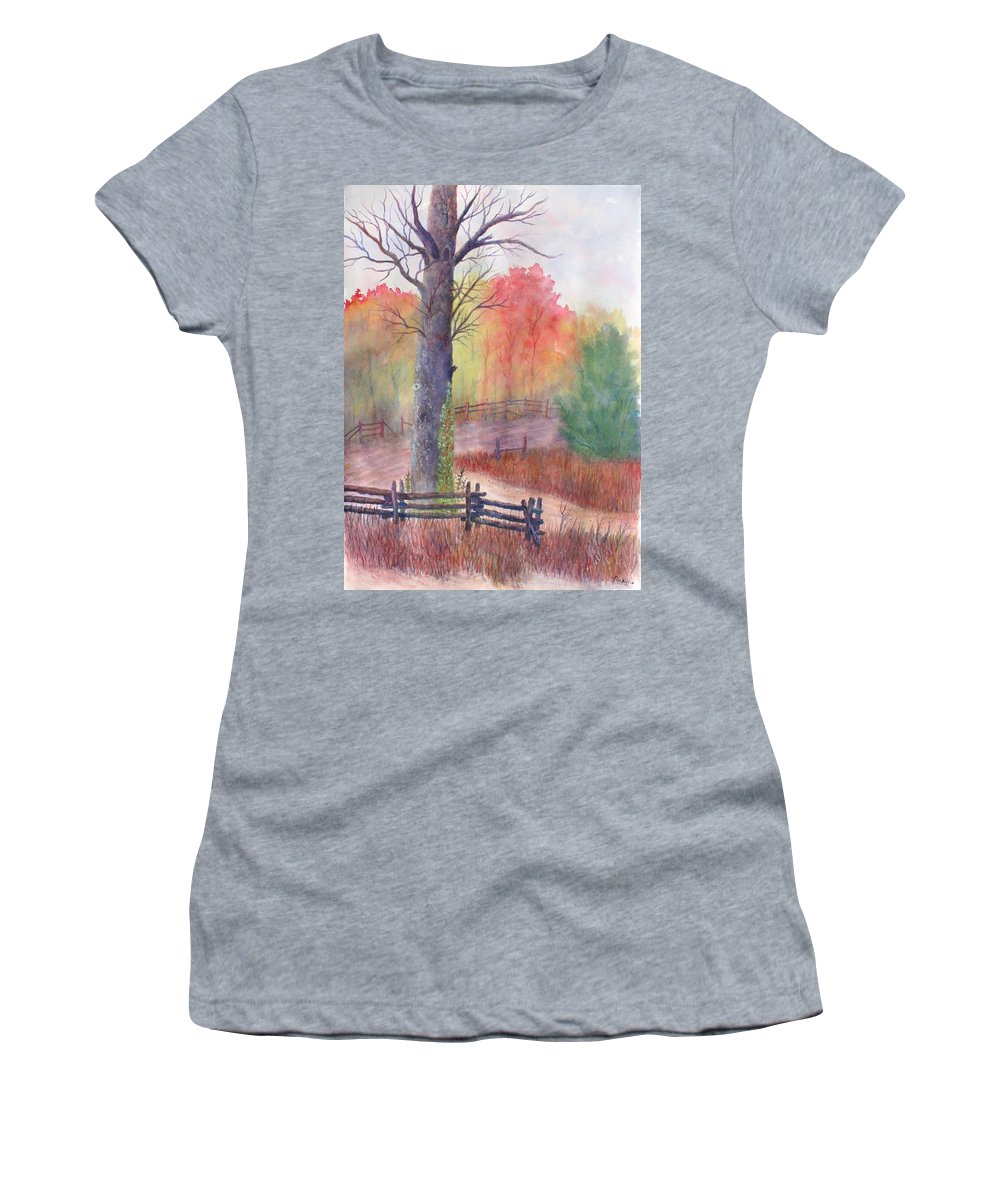 Fall Women's T-Shirt featuring the painting Joy of Fall by Ben Kiger