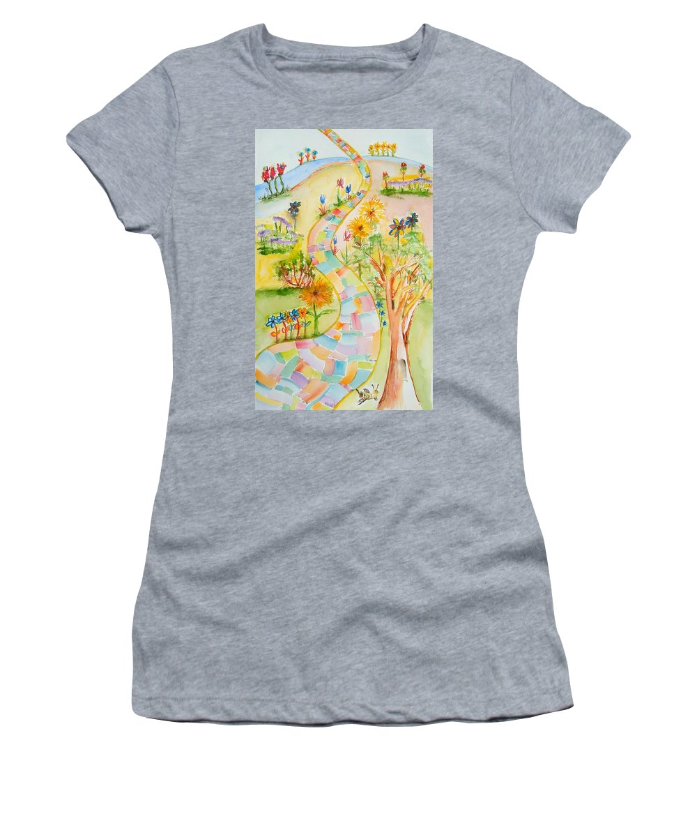 Path Women's T-Shirt featuring the painting Joyful Path by Elaine Duras