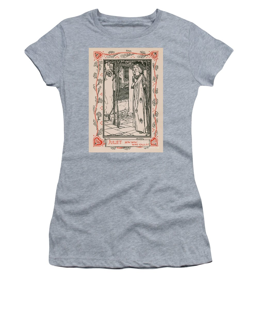 William Shakespeare; Heroine; English Literature; Hero; Character; Female; Juliet; Romeo And Juliet Women's T-Shirt (Athletic Fit) featuring the drawing Juliet From Romeo And Juliet by Robert Anning Bell