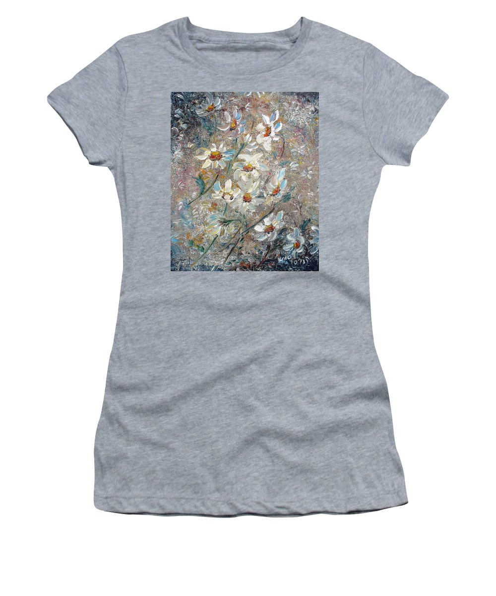 Daisies Painting Abstract Flower Painting Botanical Painting Bloom Greeting Card Painting Women's T-Shirt (Athletic Fit) featuring the painting Just Dasies by Karin Dawn Kelshall- Best