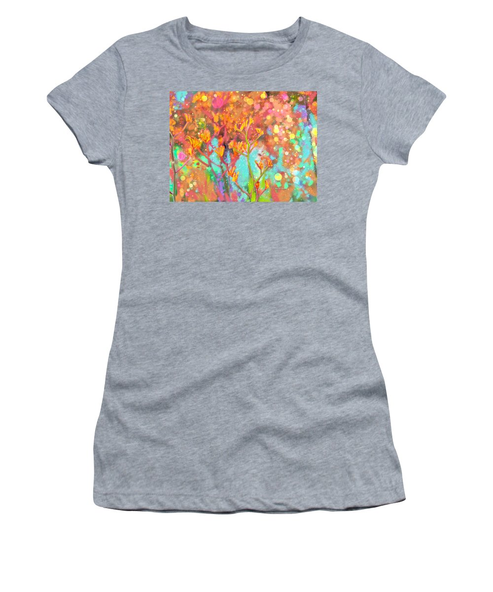 Ipad Women's T-Shirt (Athletic Fit) featuring the painting Kangaroo Flower In Spring Bubbles by Angela Stanton