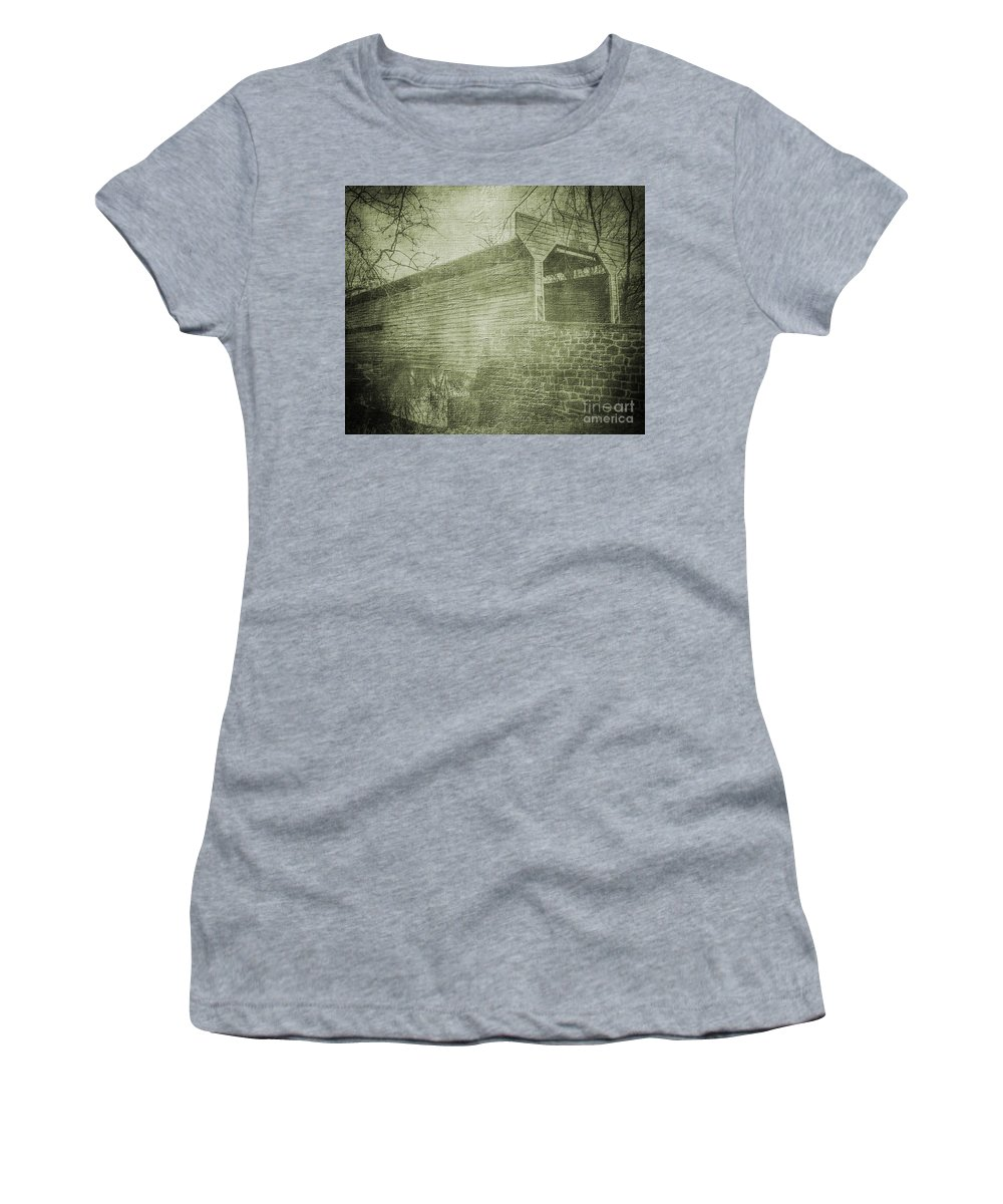 Covered Bridge Women's T-Shirt featuring the photograph Kennedy Covered Bridge 2 by Judy Wolinsky