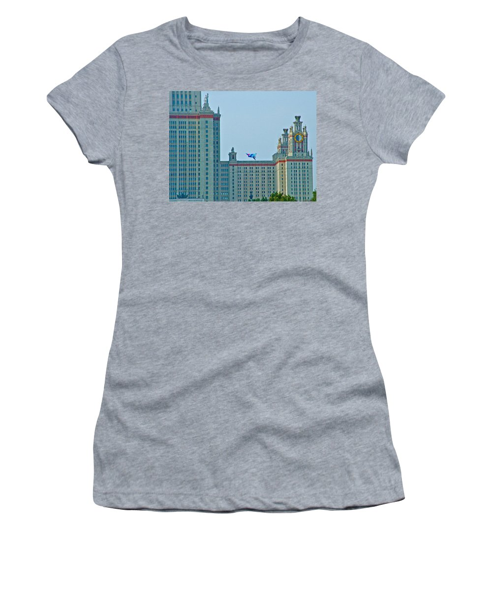 Kite Over Moscow University In Moscow Women's T-Shirt (Athletic Fit) featuring the photograph Kite Over Moscow University In Moscow-russia by Ruth Hager