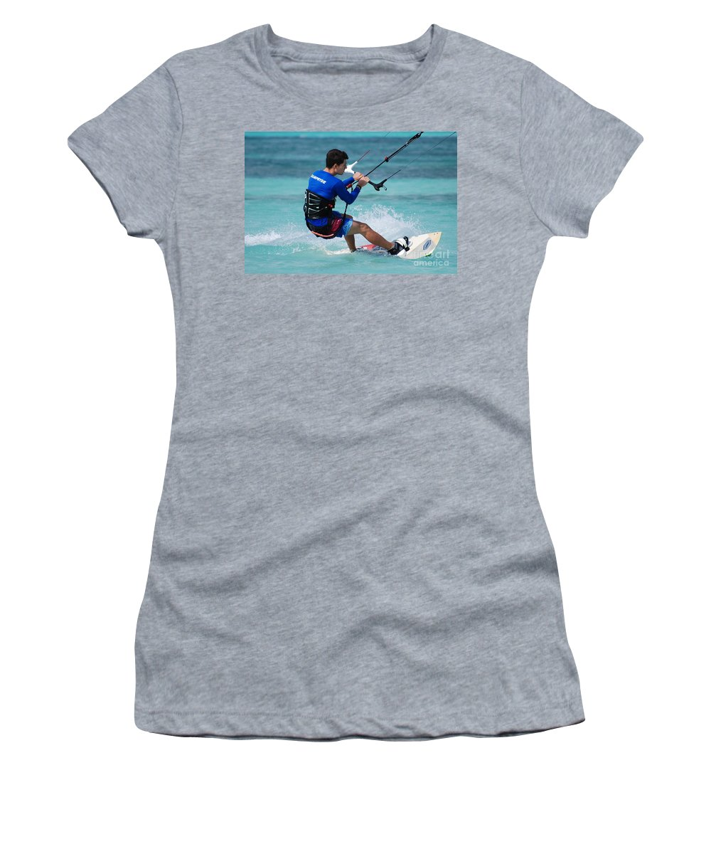 Kiteboard Women's T-Shirt (Athletic Fit) featuring the photograph Kiteboarder by DejaVu Designs