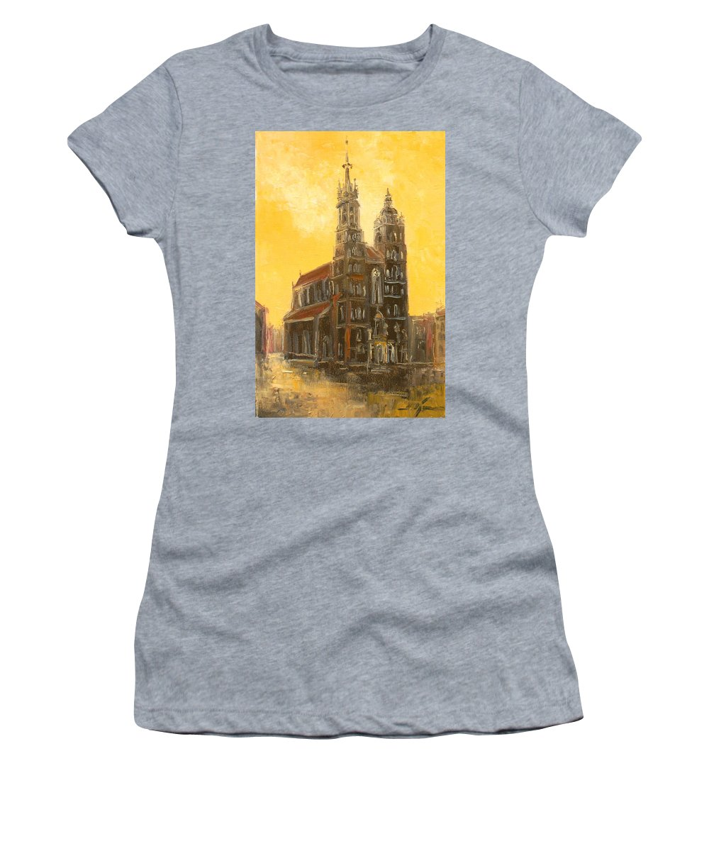 Krakow Women's T-Shirt featuring the painting Krakow - Mariacki Church by Luke Karcz