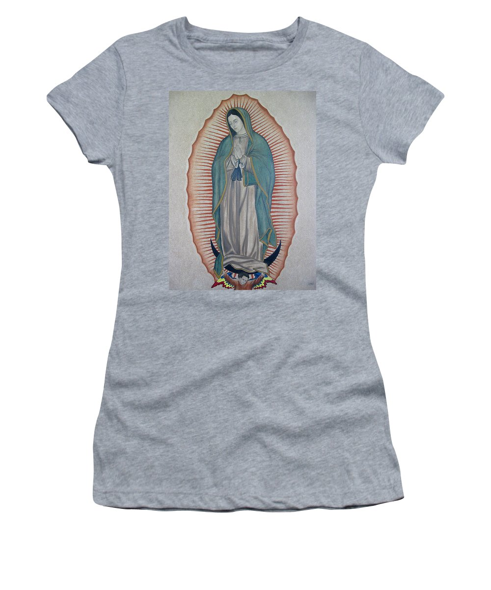 Virgen De Guadalupe Women's T-Shirt featuring the painting La Virgen De Guadalupe by Lynet McDonald