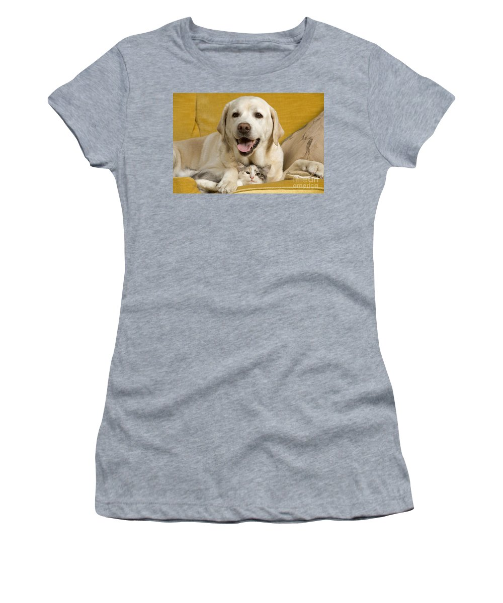 Labrador Retriever Women's T-Shirt (Athletic Fit) featuring the photograph Labrador With Cat by Jean-Michel Labat