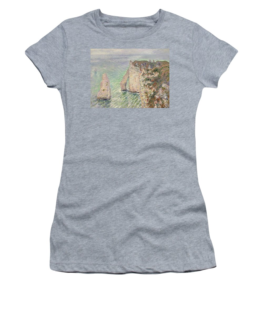 French Women's T-Shirt featuring the painting Laiguille And The Porte Daval  Etretat by Claude Monet