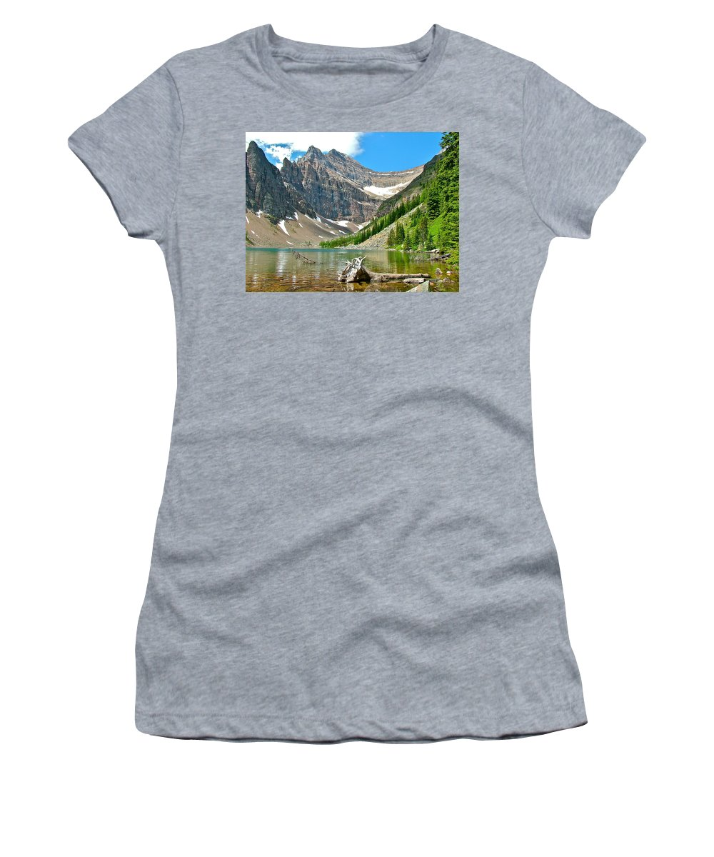 Lake Agnes In Banff National Park Women's T-Shirt featuring the photograph Lake Agnes In Banff Np-alberta by Ruth Hager
