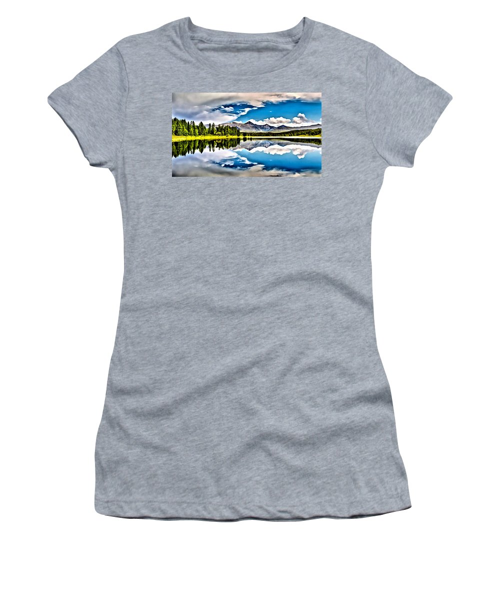 Lake Women's T-Shirt featuring the painting Lake In The Mountains by Florian Rodarte