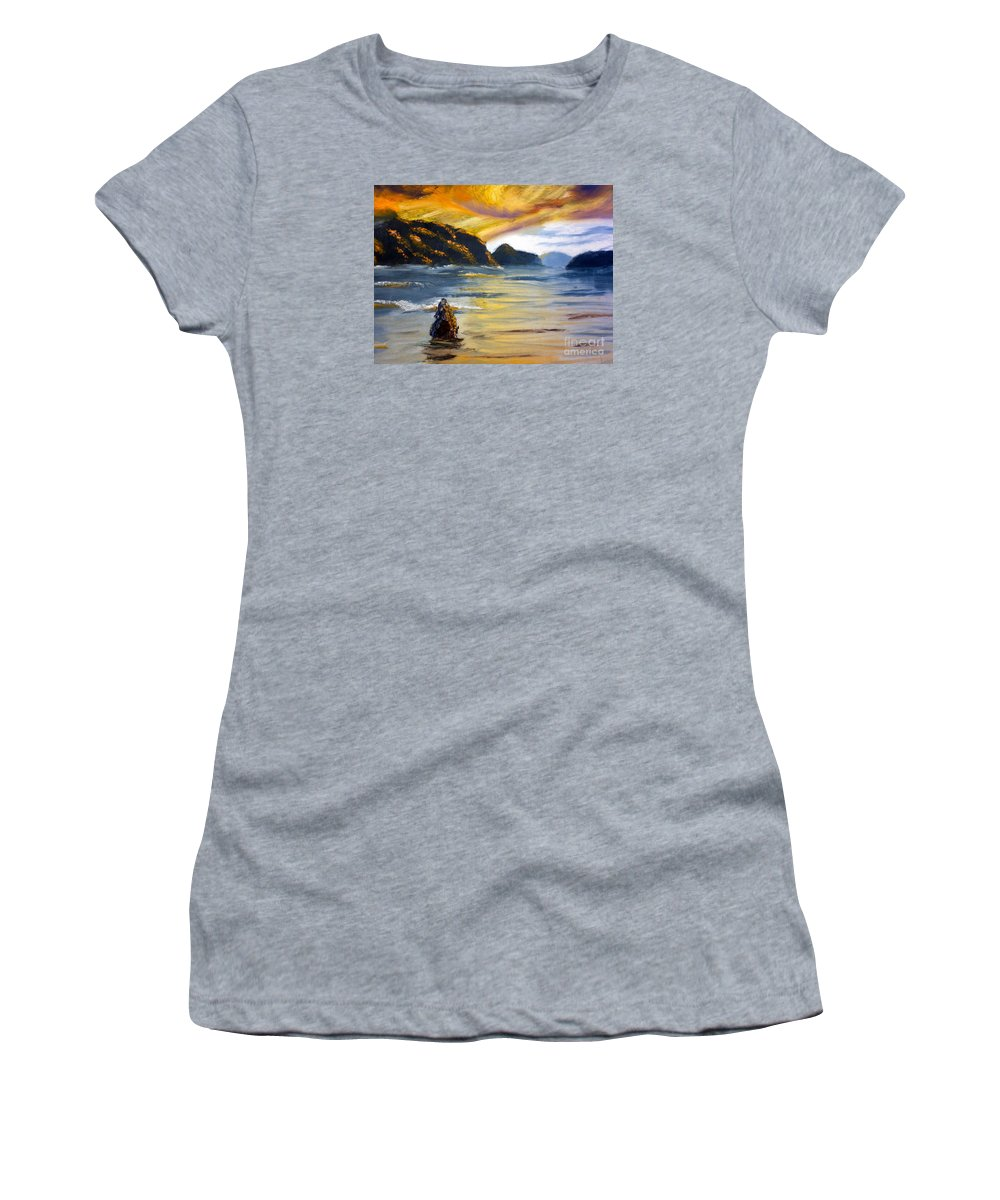 Nature Women's T-Shirt featuring the painting Lake Wahatipu Queenstown Nz by Pamela Meredith