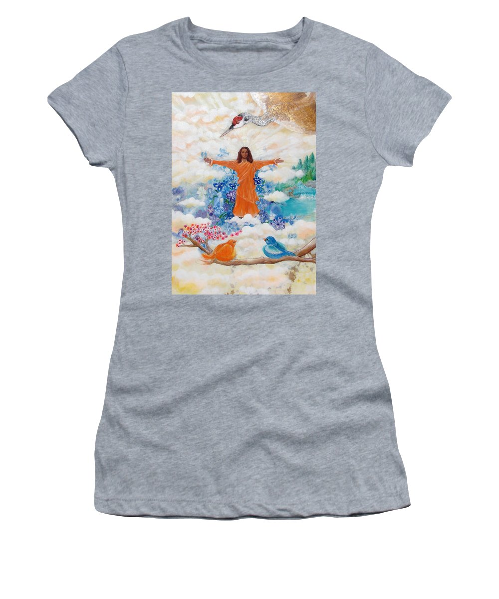 Paramhansa Yogananda Women's T-Shirt (Athletic Fit) featuring the painting Land Of Mystery by Ashleigh Dyan Bayer