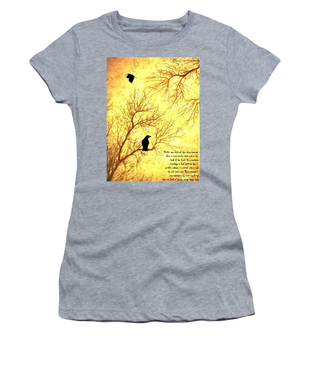 Nevermore Women's T-Shirt (Athletic Fit) featuring the mixed media Land Of The Dead by Dan Sproul
