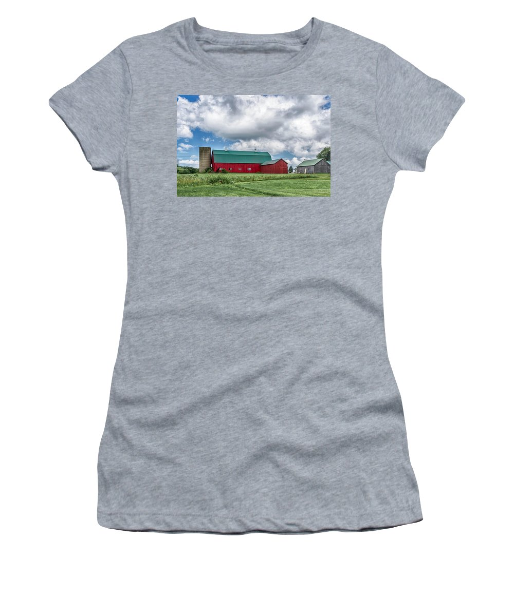 Barn Women's T-Shirt (Athletic Fit) featuring the photograph Langford Barn 7d06202 by Guy Whiteley