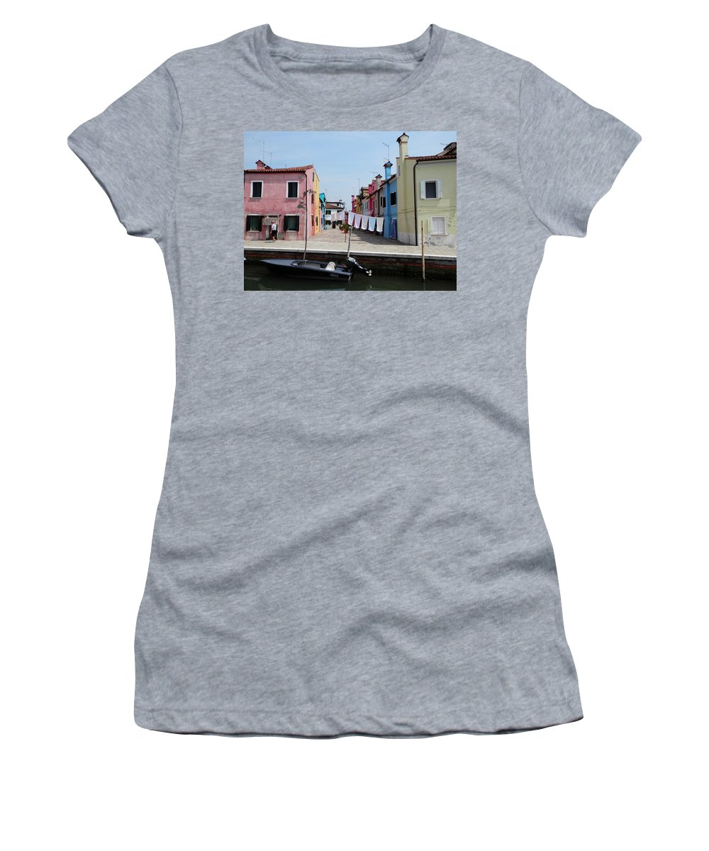 Laundry Women's T-Shirt featuring the photograph Laundry Day In Burano by Pema Hou