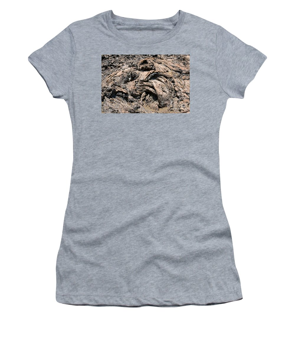 Bartolome Island Galapagos Islands Ecuador Lava Rock Rocks Abstract Odds And Ends Texture Textures Women's T-Shirt featuring the photograph Lava Abstract by Bob Phillips