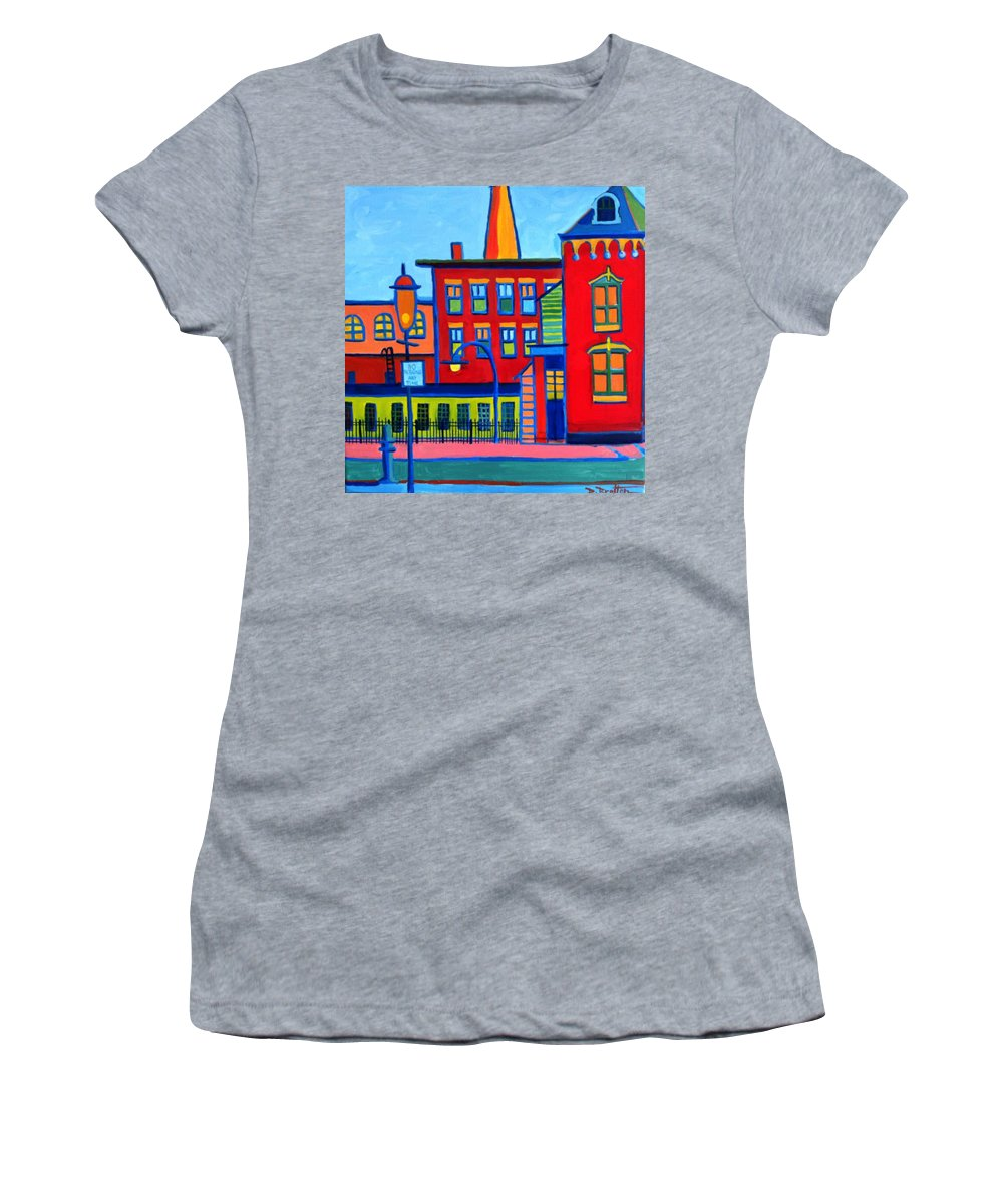 Landscape Women's T-Shirt featuring the painting Life Revolving in the City Lowell MA by Debra Bretton Robinson