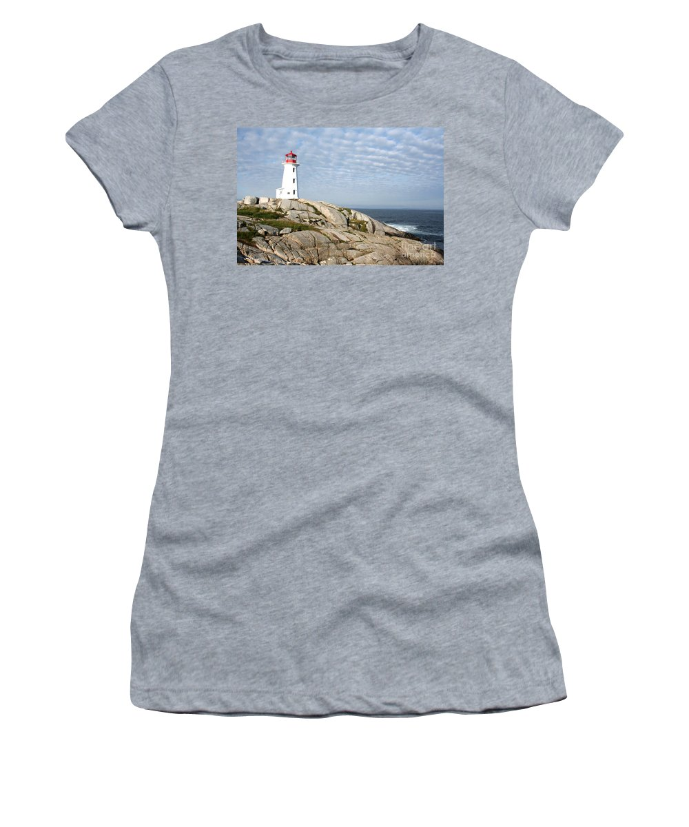Lighthouse Women's T-Shirt featuring the photograph Lighthouse At Peggys Point Nova Scotia by Thomas Marchessault